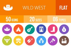 50 Wild West Flat Round Icons
