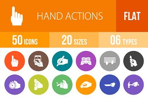 50 Hand Actions Flat Round Icons