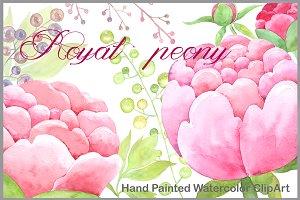 Warercolor Clipart Royal Peony Pink