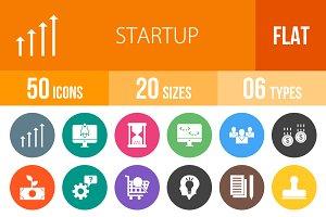 50 Startup Flat Round Icons