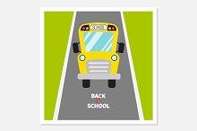 Back to school. School bus, road