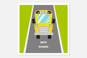 Back to school. School bus, road