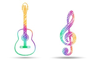 Guitar and treble clef logo