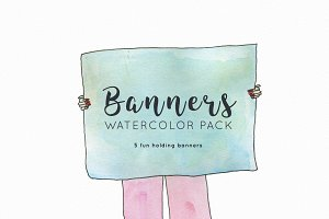 Watercolor banners in hands