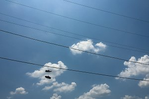 Shoes on a Telephone Wire