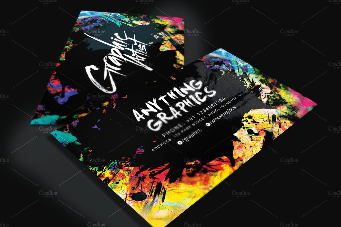 artistic business card for designers business card templates creative market - Artist Business Cards
