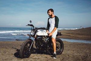 beard man and custom motorcycle