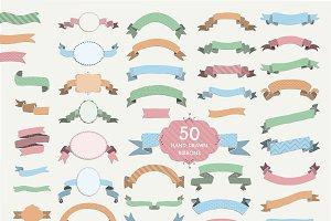 50 Ribbons. PNG, SVG, AI, EPS, JPG
