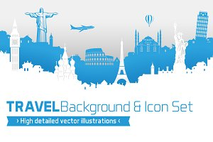 Travel Vector background with Icons