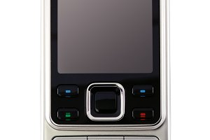 classic modern mobile phone. Isolated with clipping path