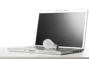 laptop and bulb