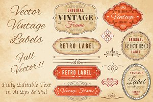 Editable Vintage Grunge Labels