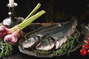 Still life with raw fish