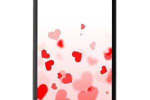 modern smartphone with hearts