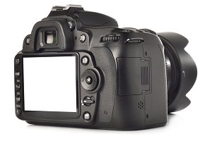 photo camera with white screen cut with clipping path