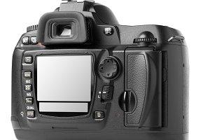 professional digital photo camera back isolated on white. Displa