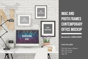 iMac And Photo Frames Office MockUP