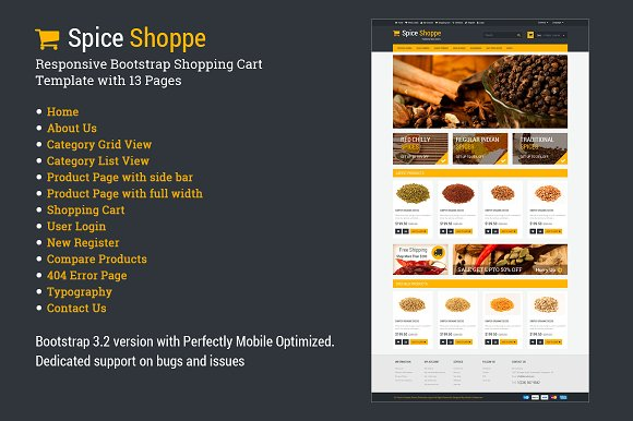 Spice Shoppe Bootstrap Shopping Cart