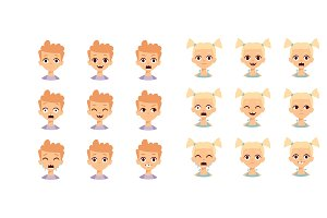 Kids emoji face vector illustration