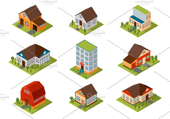 isometric house vector illustration illustrations creative market