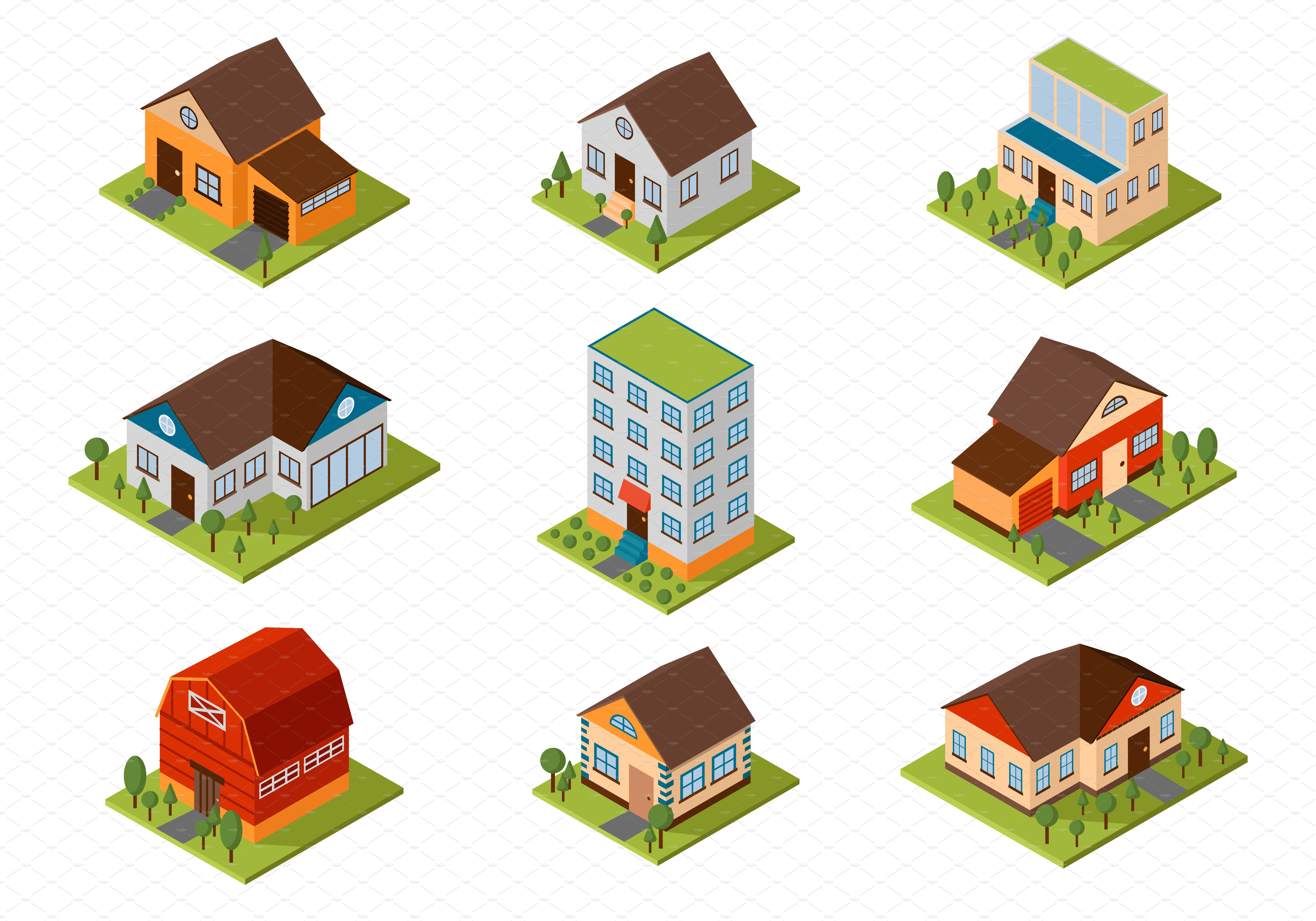 Isometric House Vector Illustration Illustrations