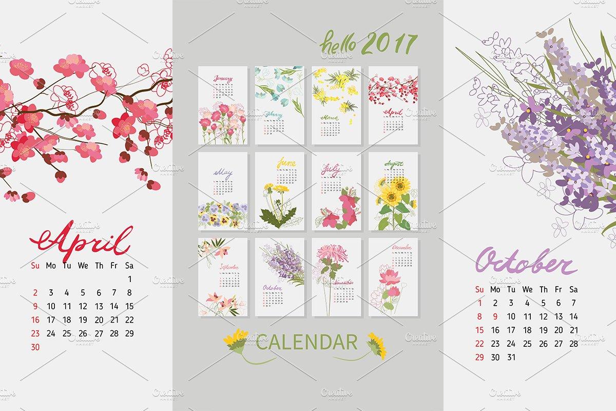 158 Vintage Floral Calendar 2017 Illustrations Creative Market