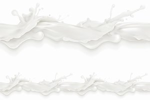 Splashes of milk, seamless pattern