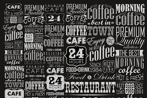 Coffee typography set