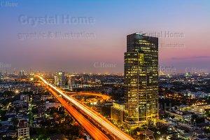 Highway across Bangkok cityscape