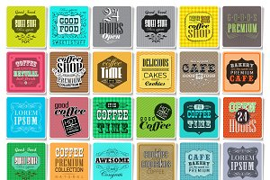 Retro Coffee  Labels set