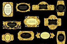 Labels set of gold glittering