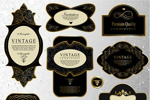 Retro black gold labels set 1