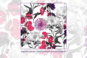 imprints plants seamless pattern