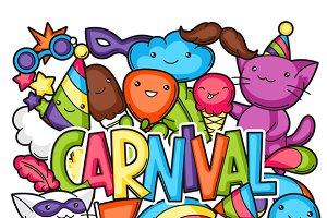 Carnival party kawaii prints.