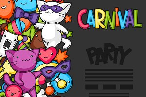 Carnival party kawaii flayers.