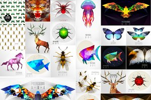 Abstract polygonal animals