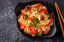 noodles with vegetables and chicken
