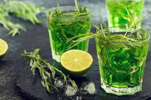 Green cocktail with tarragon