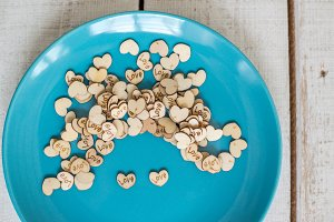 decorative hearts in a plate
