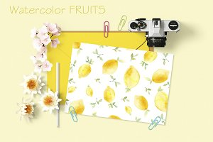 Watercolor lemon and peach patterns