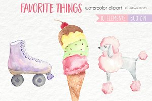 Watercolor Clip Art -Favorite Things