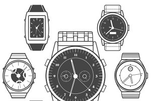 Hand watch black icons set