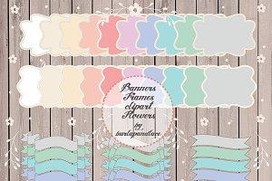 Pastel frames, banner, label clipart