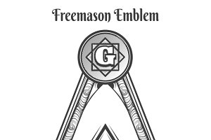 Freemason square and compass symbols