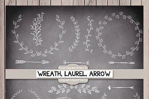 Chalkboard,rustic wreath laurel
