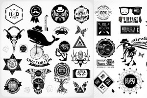 Hipster label, icon, elements set