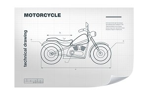 Technical wireframe of motorcycle