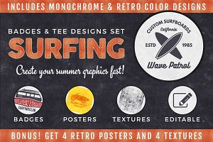 Vintage Surfing Graphics Pack. Vol.2