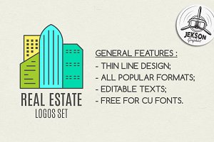 Real Estate Logo Set. LineArt