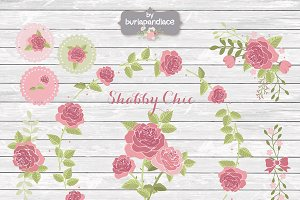 Shabby chic rose cliparts